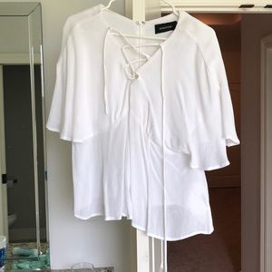 NWT mink pink lace up blouse